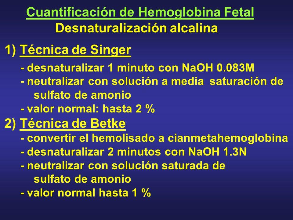 Cuantificación de Hemoglobina Fetal Desnaturalización alcalina 1) Técnica de Singer - desnaturalizar 1 minuto con NaOH 0.083M - neutralizar con soluci