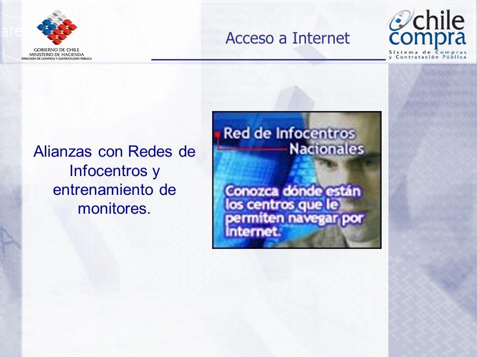Alianzas con Redes de Infocentros y entrenamiento de monitores. Acceso a Internet