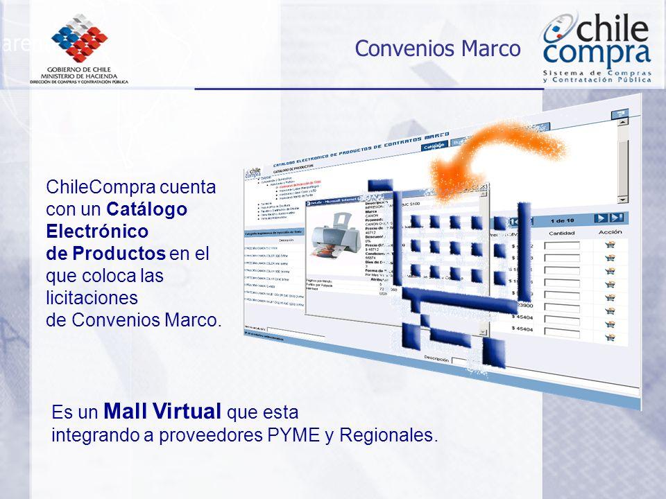 ChileCompra cuenta con un Catálogo Electrónico de Productos en el que coloca las licitaciones de Convenios Marco.