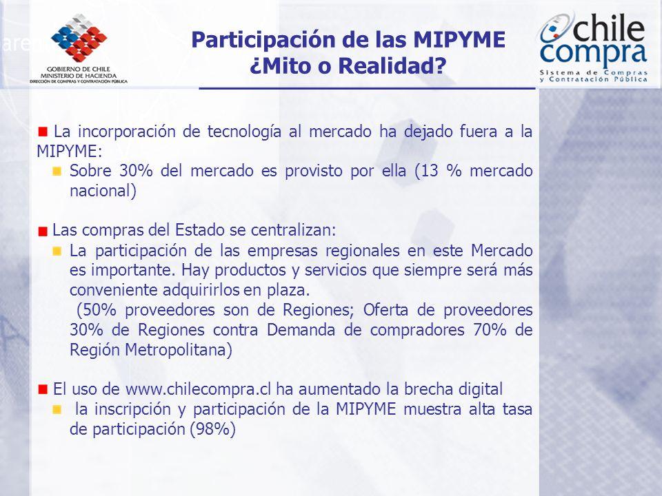 La incorporación de tecnología al mercado ha dejado fuera a la MIPYME: Sobre 30% del mercado es provisto por ella (13 % mercado nacional) Las compras del Estado se centralizan: La participación de las empresas regionales en este Mercado es importante.