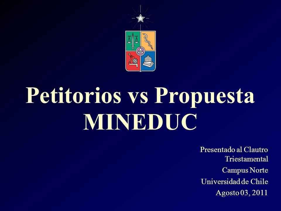 Presentado al Clautro Triestamental Campus Norte Universidad de Chile Agosto 03, 2011 Petitorios vs Propuesta MINEDUC