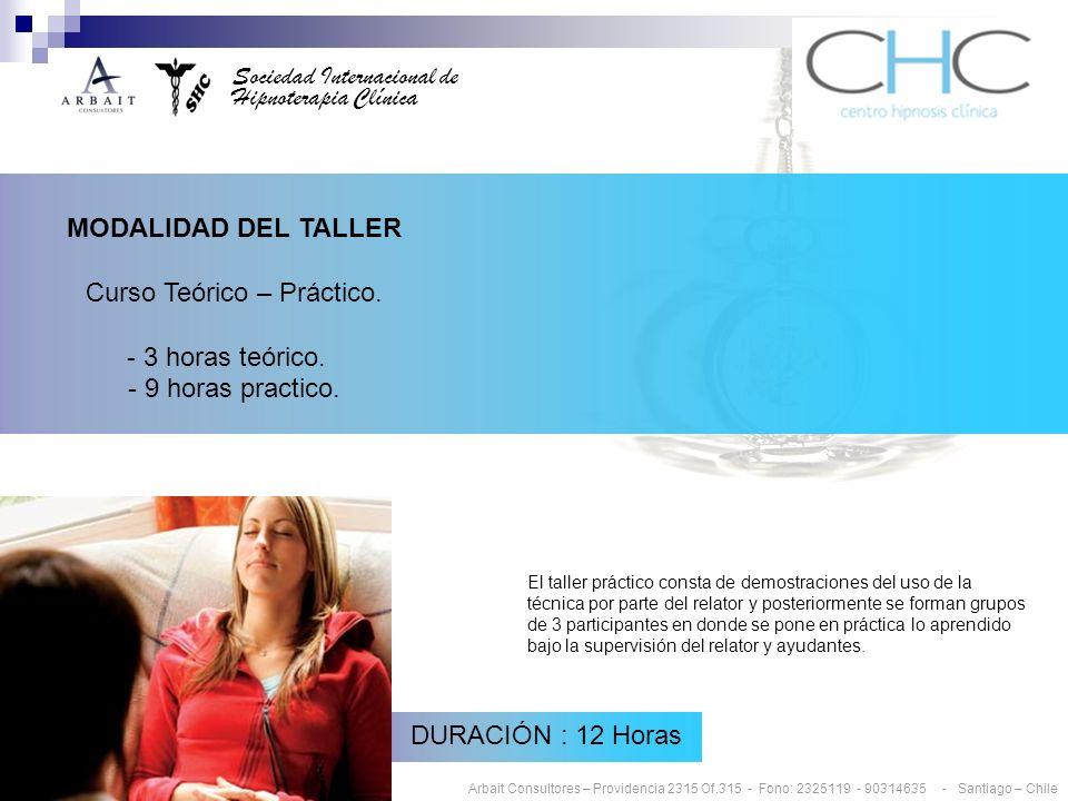 Sociedad Internacional de Hipnoterapia Clínica MODALIDAD DEL TALLER Curso Teórico – Práctico.