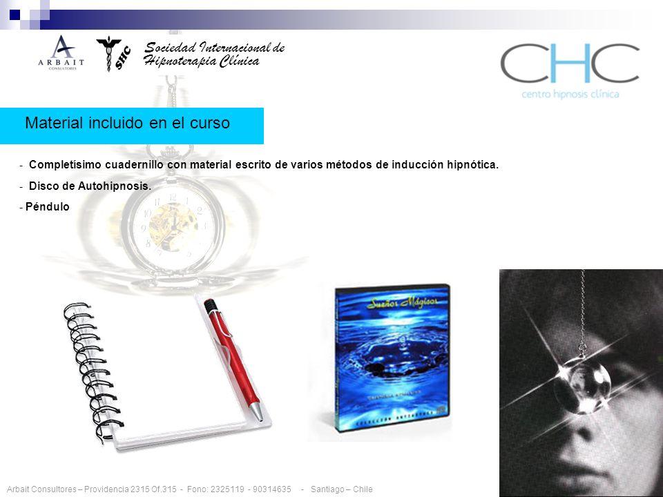 Sociedad Internacional de Hipnoterapia Clínica Material incluido en el curso - Completísimo cuadernillo con material escrito de varios métodos de inducción hipnótica.