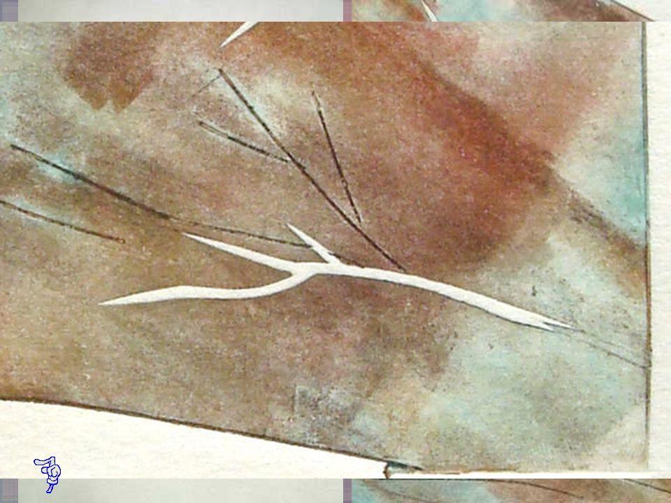 LLUVIA DE FLORES Aguafuerte en plancha de cobre Collagraph