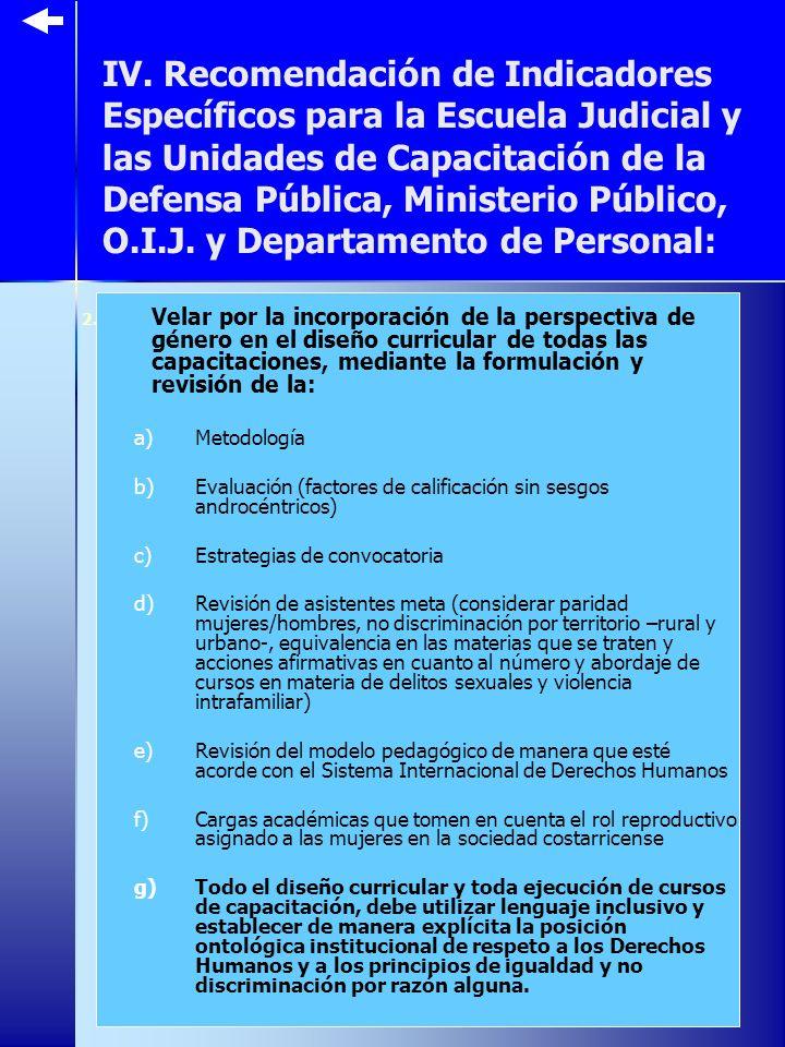 IV. Recomendación de Indicadores Específicos para la Escuela Judicial y las Unidades de Capacitación de la Defensa Pública, Ministerio Público, O.I.J.