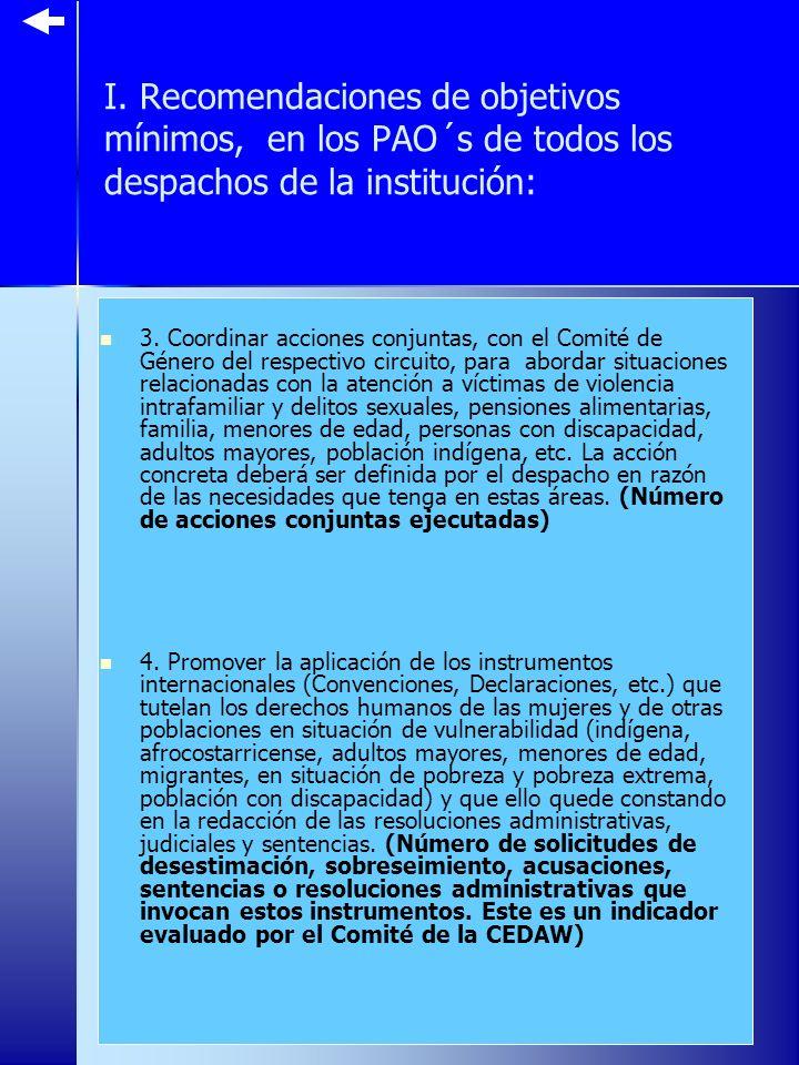 I. Recomendaciones de objetivos mínimos, en los PAO´s de todos los despachos de la institución: 3.