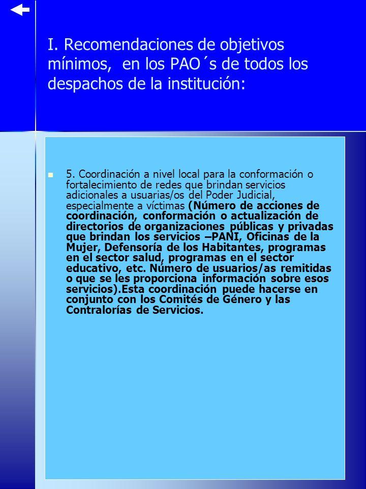 I. Recomendaciones de objetivos mínimos, en los PAO´s de todos los despachos de la institución: 5.