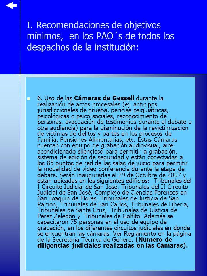 I.Recomendaciones de objetivos mínimos, en los PAO´s de todos los despachos de la institución: 6.