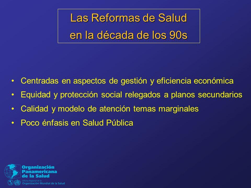 Centradas en aspectos de gestión y eficiencia económica Equidad y protección social relegados a planos secundarios Calidad y modelo de atención temas marginales Poco énfasis en Salud Pública Las Reformas de Salud en la década de los 90s