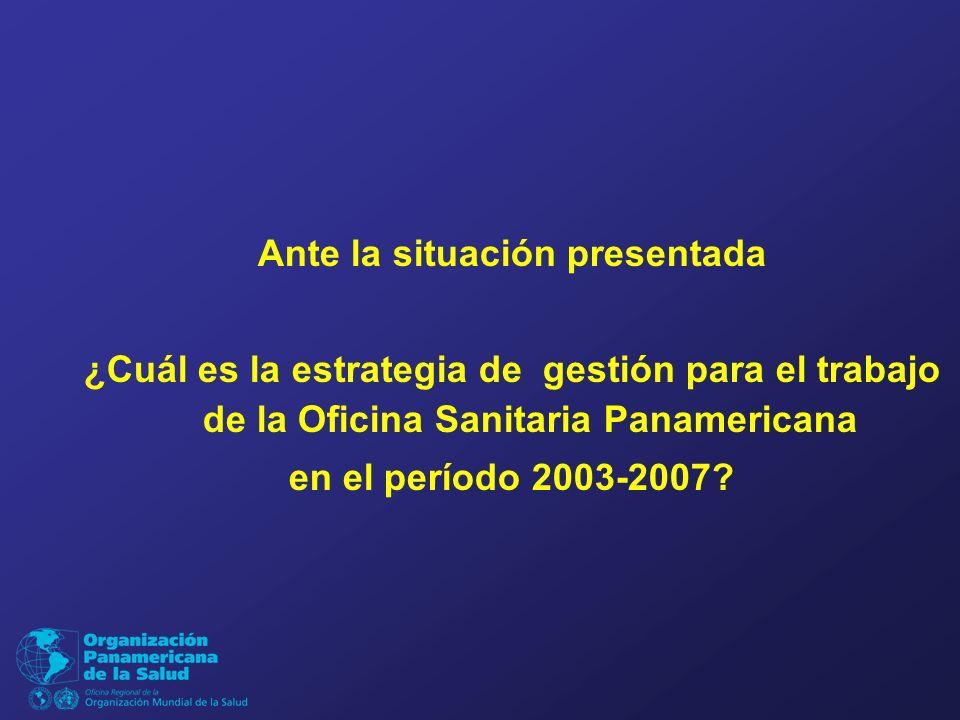 Ante la situación presentada ¿Cuál es la estrategia de gestión para el trabajo de la Oficina Sanitaria Panamericana en el período 2003-2007