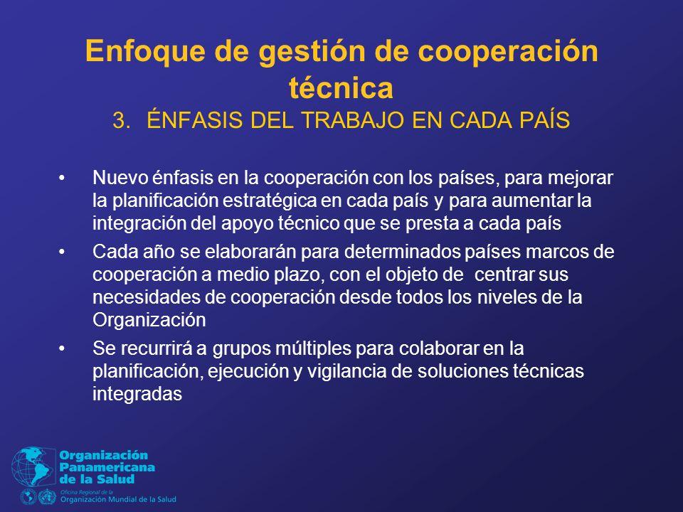 Enfoque de gestión de cooperación técnica 3.ÉNFASIS DEL TRABAJO EN CADA PAÍS Nuevo énfasis en la cooperación con los países, para mejorar la planificación estratégica en cada país y para aumentar la integración del apoyo técnico que se presta a cada país Cada año se elaborarán para determinados países marcos de cooperación a medio plazo, con el objeto de centrar sus necesidades de cooperación desde todos los niveles de la Organización Se recurrirá a grupos múltiples para colaborar en la planificación, ejecución y vigilancia de soluciones técnicas integradas