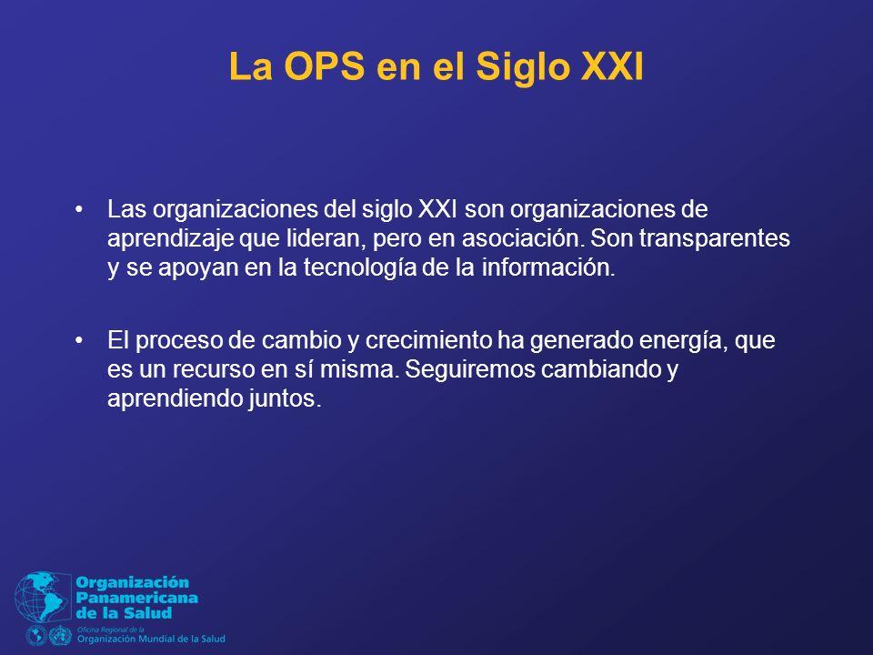 La OPS en el Siglo XXI Las organizaciones del siglo XXI son organizaciones de aprendizaje que lideran, pero en asociación.