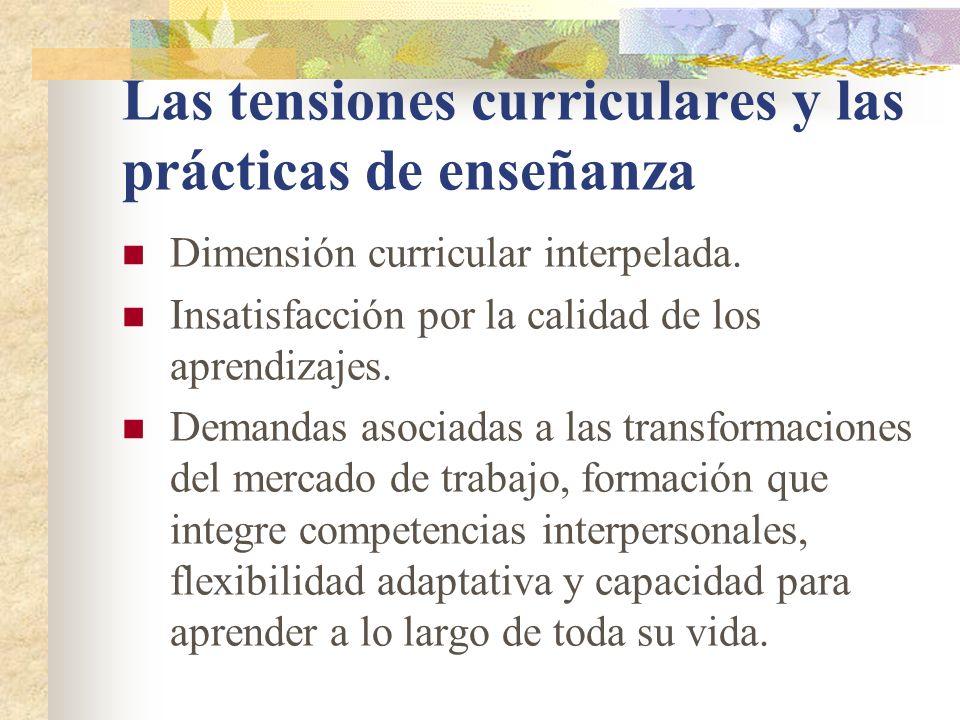 Las tensiones curriculares y las prácticas de enseñanza Dimensión curricular interpelada.