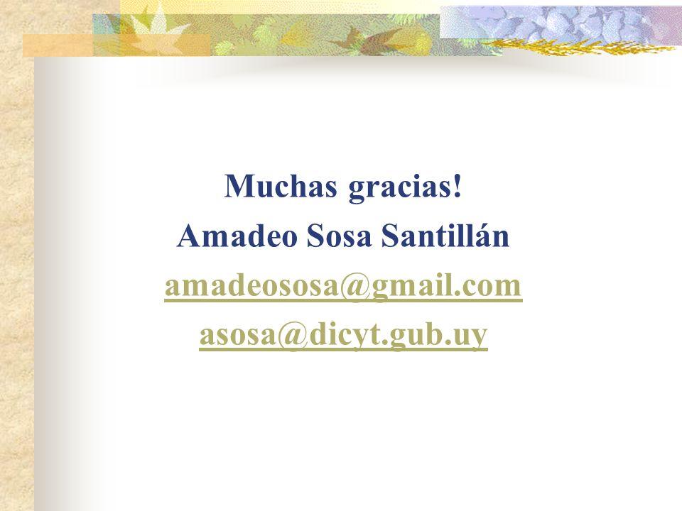 Muchas gracias! Amadeo Sosa Santillán amadeososa@gmail.com asosa@dicyt.gub.uy