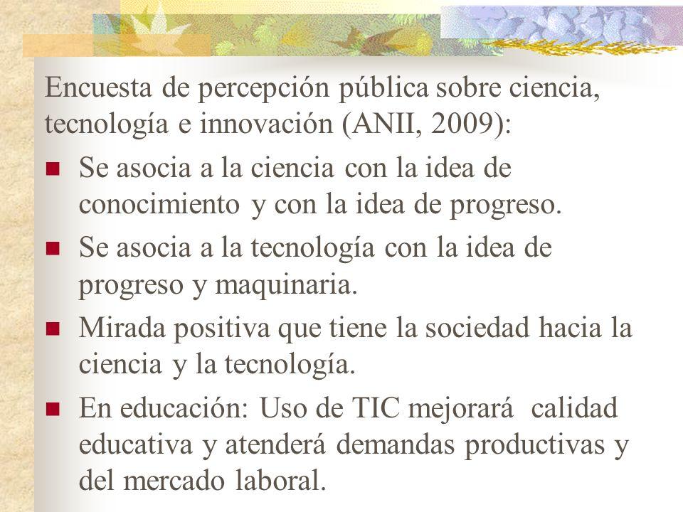 Encuesta de percepción pública sobre ciencia, tecnología e innovación (ANII, 2009): Se asocia a la ciencia con la idea de conocimiento y con la idea de progreso.