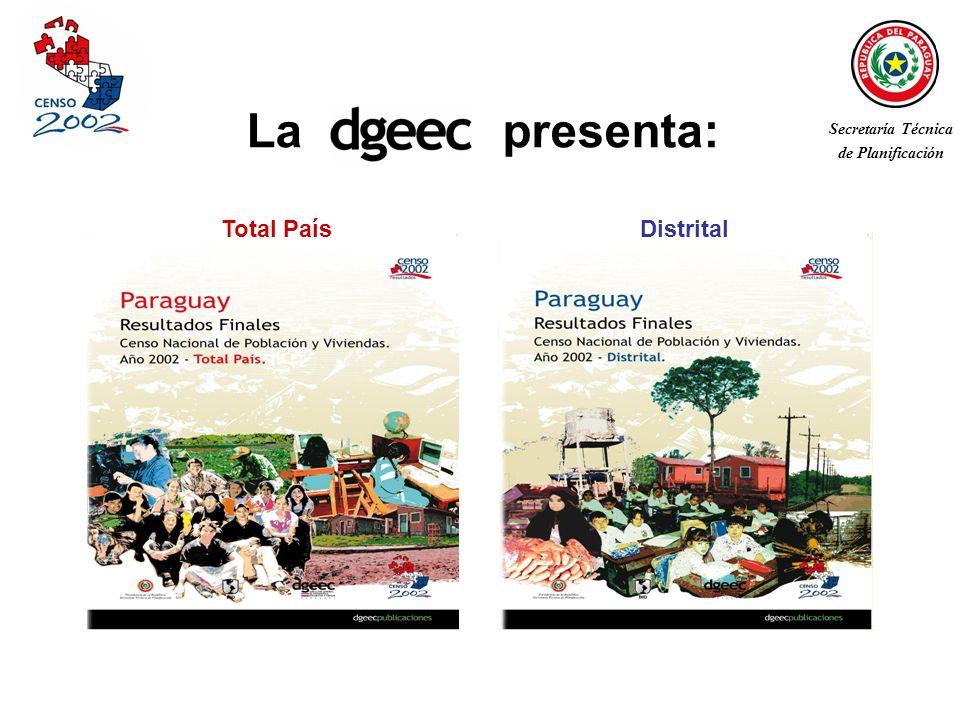 Características y utilidad de los Censos de Población y Viviendas El Censo Nacional de Población y Viviendas 2002 Objetivo Ficha técnica Principales resultados Paraguay total: gráficos y proyección de población actual Paraguay distrital: mapas de indicadores sociodemográficos Contenido