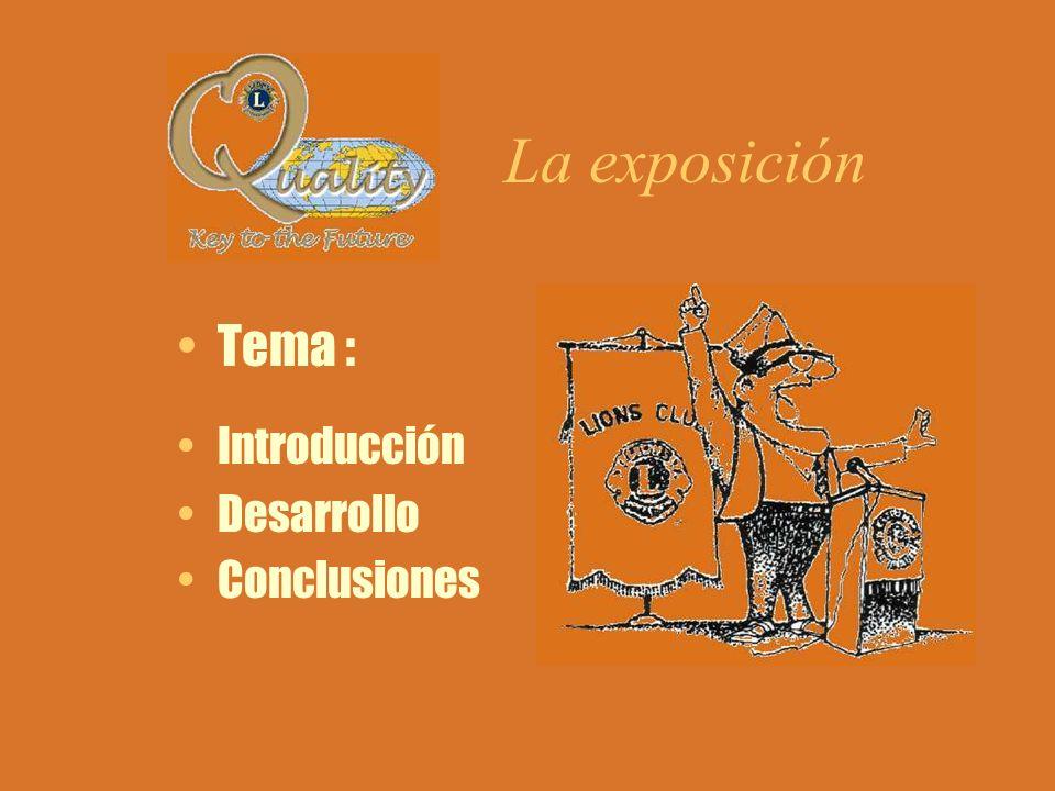 La exposición Tema : Introducción Desarrollo Conclusiones