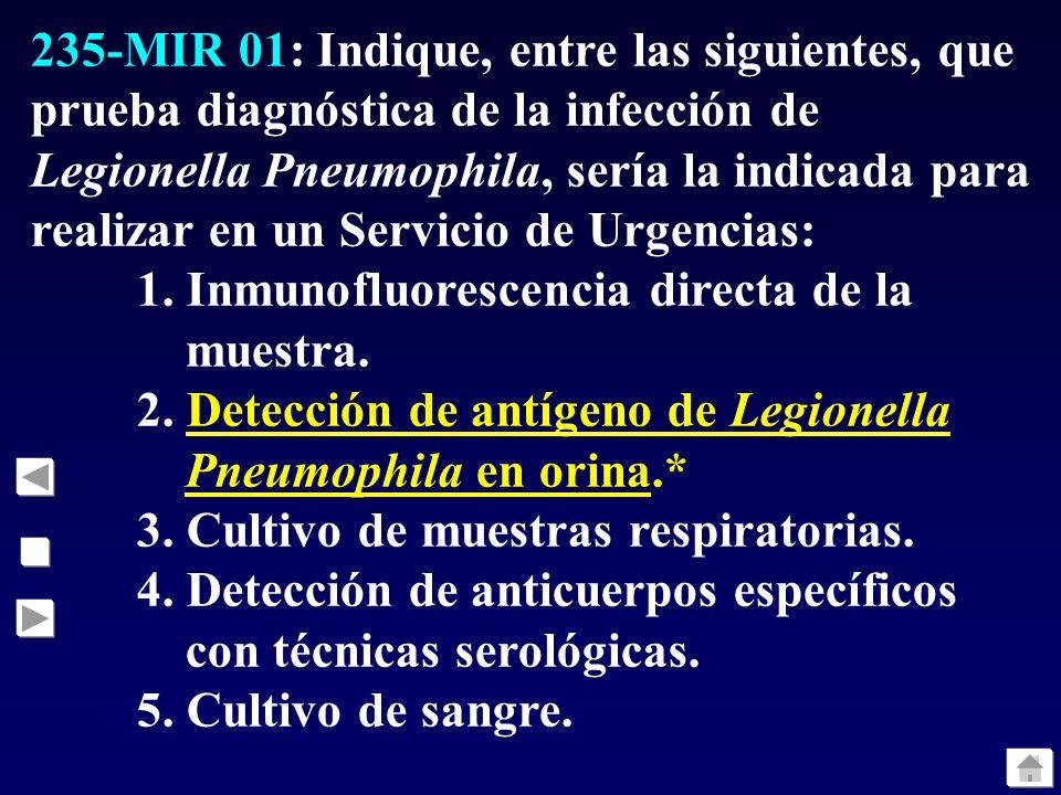 235-MIR 01: Indique, entre las siguientes, que prueba diagnóstica de la infección de Legionella Pneumophila, sería la indicada para realizar en un Ser
