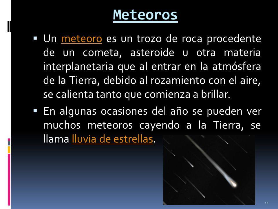 Meteoros Un meteoro es un trozo de roca procedente de un cometa, asteroide u otra materia interplanetaria que al entrar en la atmósfera de la Tierra,