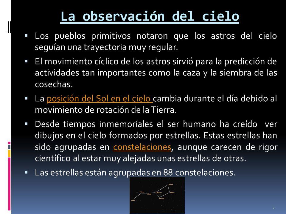 La observación del cielo Los pueblos primitivos notaron que los astros del cielo seguían una trayectoria muy regular. El movimiento cíclico de los ast