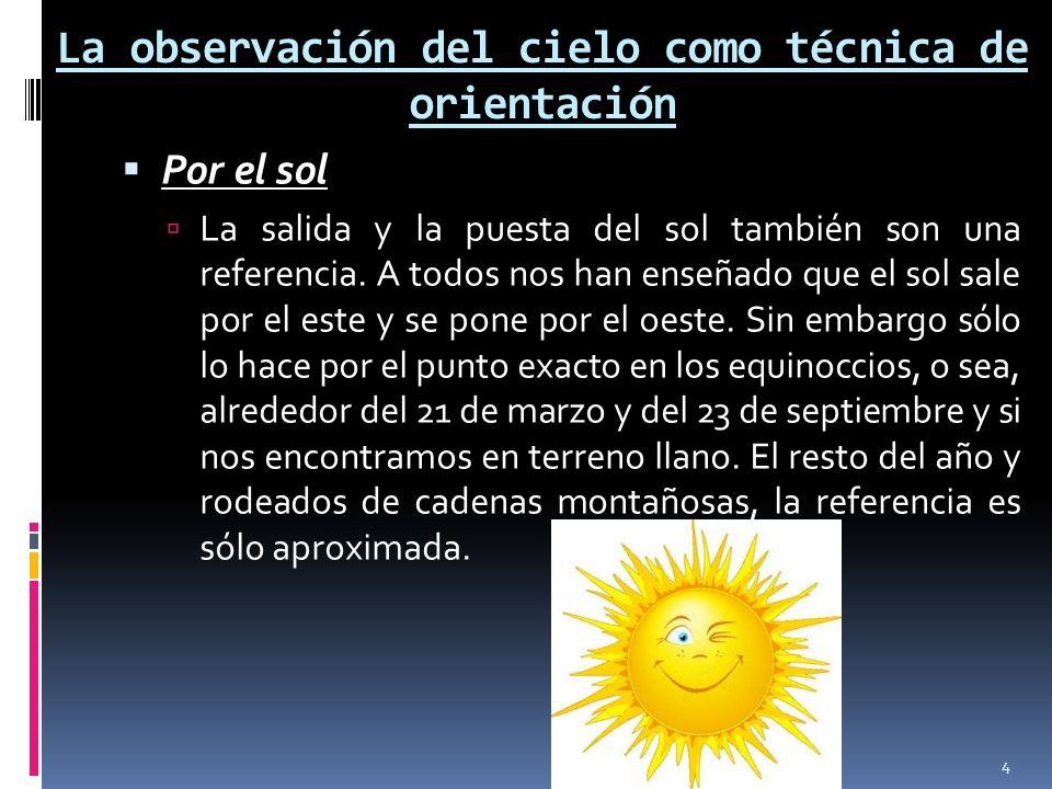 La observación del cielo como técnica de orientación Por el sol La salida y la puesta del sol también son una referencia. A todos nos han enseñado que
