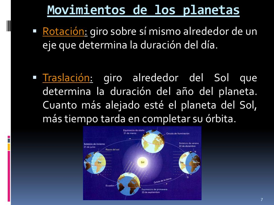 Movimientos de los planetas Rotación: giro sobre sí mismo alrededor de un eje que determina la duración del día. Rotación Traslación: giro alrededor d