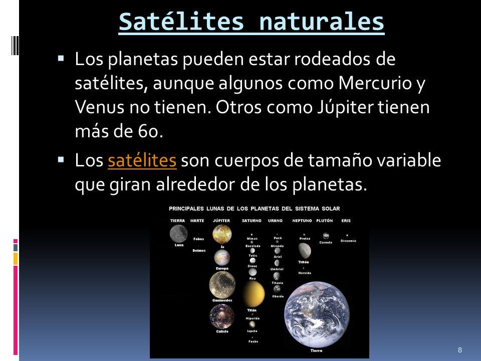 Satélites naturales Los planetas pueden estar rodeados de satélites, aunque algunos como Mercurio y Venus no tienen. Otros como Júpiter tienen más de