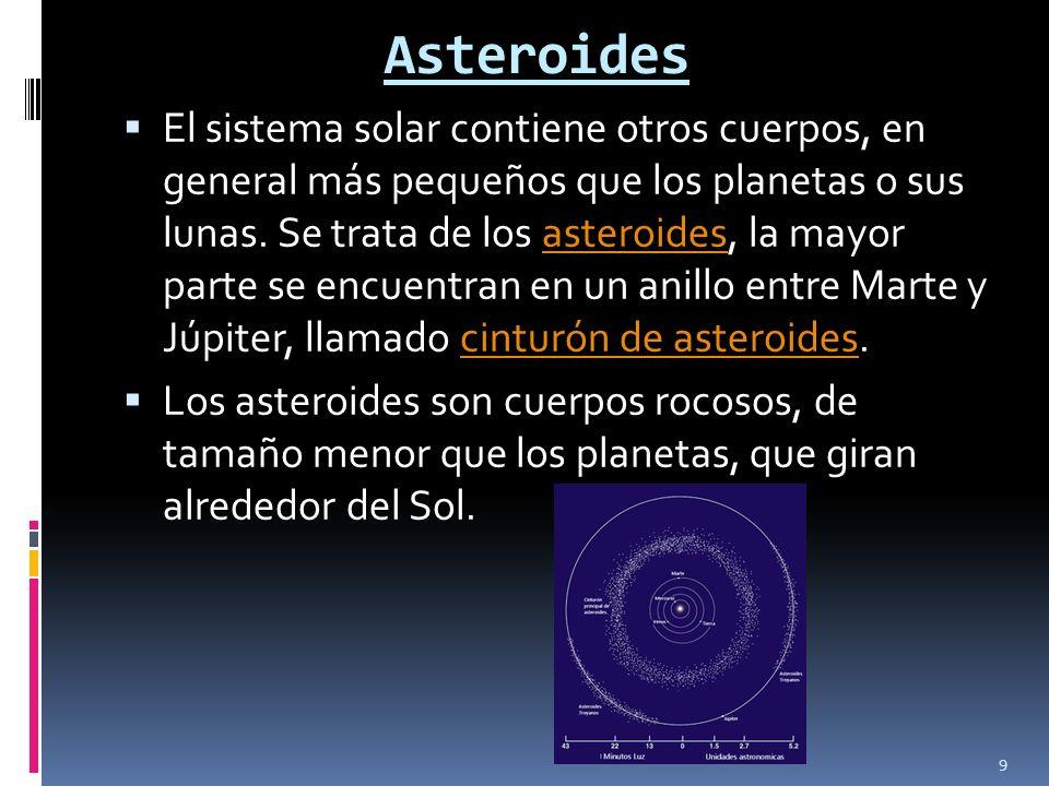 Asteroides El sistema solar contiene otros cuerpos, en general más pequeños que los planetas o sus lunas. Se trata de los asteroides, la mayor parte s