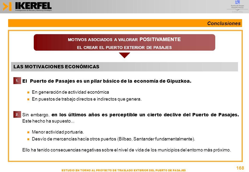 168 ESTUDIO EN TORNO AL PROYECTO DE TRASLADO EXTERIOR DEL PUERTO DE PASAJES n El Puerto de Pasajes es un pilar básico de la economía de Gipuzkoa. n En