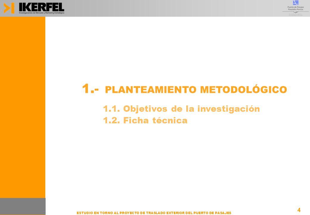4 ESTUDIO EN TORNO AL PROYECTO DE TRASLADO EXTERIOR DEL PUERTO DE PASAJES 1.- PLANTEAMIENTO METODOLÓGICO 4 1.1. Objetivos de la investigación 1.2. Fic