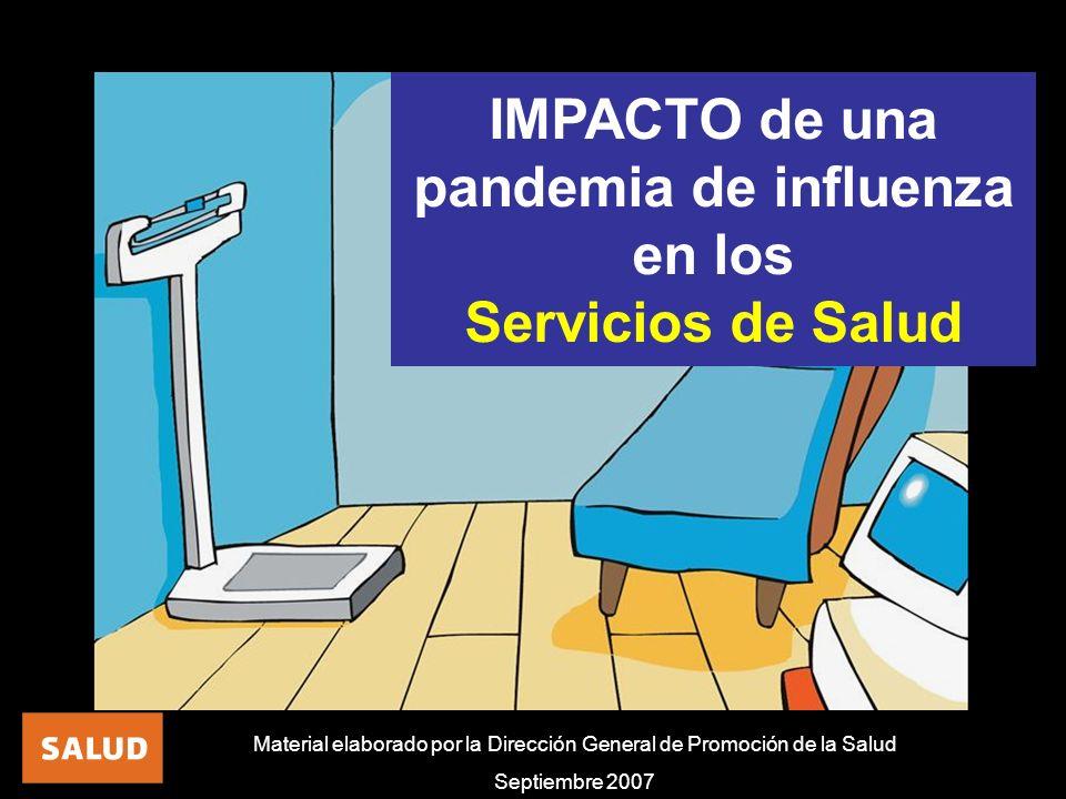 Material elaborado por la Dirección General de Promoción de la Salud Septiembre 2007 IMPACTO de una pandemia de influenza en los Servicios de Salud