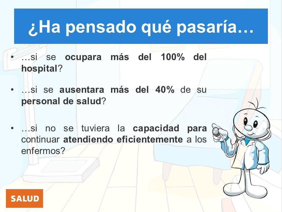 ¿Ha pensado qué pasaría… …si se ocupara más del 100% del hospital? …si se ausentara más del 40% de su personal de salud? …si no se tuviera la capacida