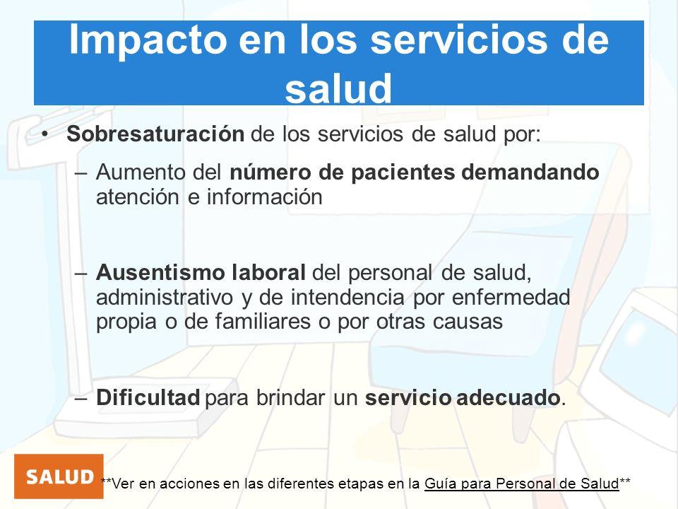 Impacto en los servicios de salud Sobresaturación de los servicios de salud por: –Aumento del número de pacientes demandando atención e información –A