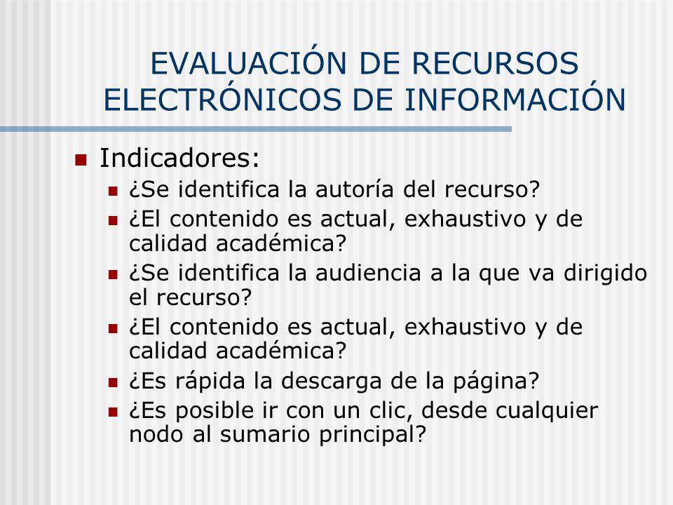 EVALUACIÓN DE RECURSOS ELECTRÓNICOS DE INFORMACIÓN Indicadores: ¿Se identifica la autoría del recurso? ¿El contenido es actual, exhaustivo y de calida