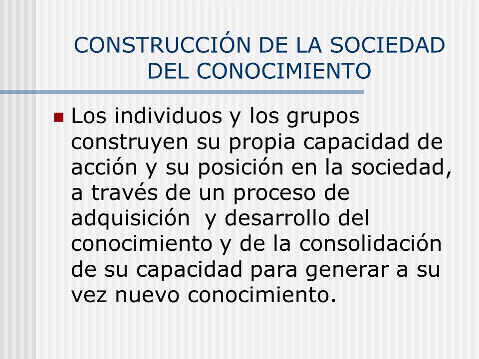 CONSTRUCCIÓN DE LA SOCIEDAD DEL CONOCIMIENTO Los individuos y los grupos construyen su propia capacidad de acción y su posición en la sociedad, a trav