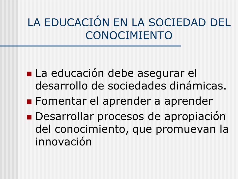 LA EDUCACIÓN EN LA SOCIEDAD DEL CONOCIMIENTO La educación debe asegurar el desarrollo de sociedades dinámicas. Fomentar el aprender a aprender Desarro