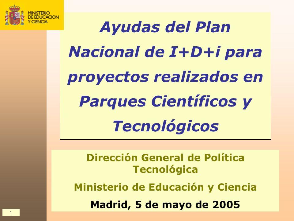 1 Ayudas del Plan Nacional de I+D+i para proyectos realizados en Parques Científicos y Tecnológicos Dirección General de Política Tecnológica Minister