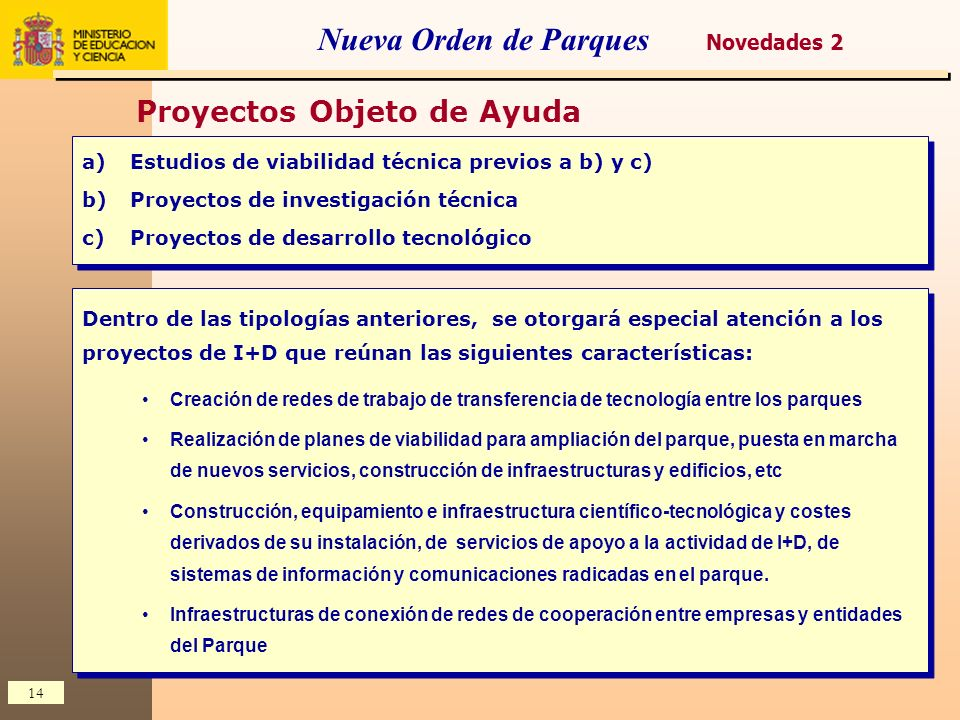 14 Nueva Orden de Parques a)Estudios de viabilidad técnica previos a b) y c) b)Proyectos de investigación técnica c)Proyectos de desarrollo tecnológic