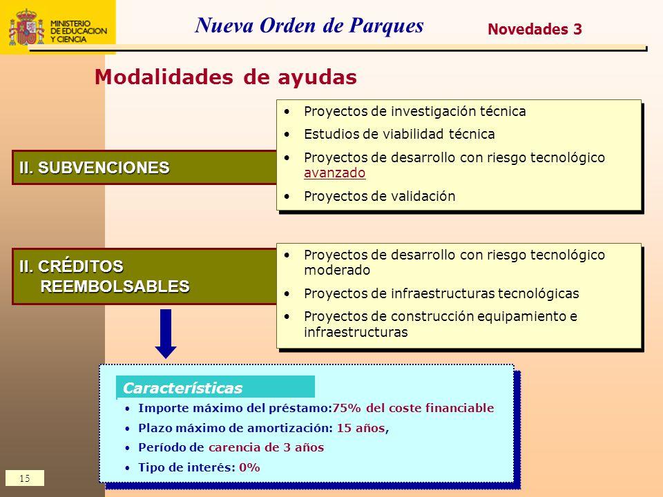 15 Nueva Orden de Parques Novedades 3 Modalidades de ayudas II. SUBVENCIONES Proyectos de investigación técnica Estudios de viabilidad técnica Proyect