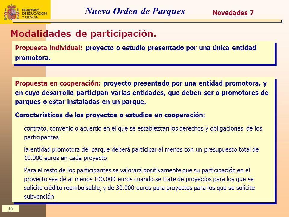 19 Nueva Orden de Parques Modalidades de participación. Propuesta individual: proyecto o estudio presentado por una única entidad promotora. Propuesta