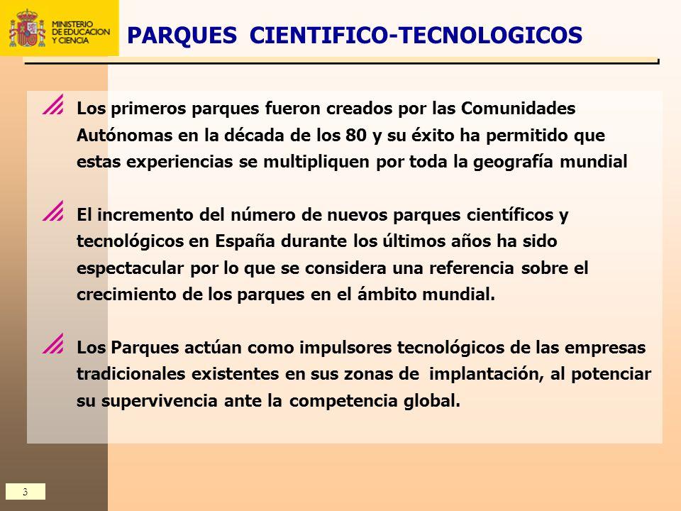 4 En el panorama español, los Parques Científicos y Tecnológicos están cobrando un protagonismo especialmente mas intenso que en otros países avanzados En los últimos años se ha producido un gran incremento en la creación de nuevos parques, debido quizás al éxito de los parques pioneros, y a que la mayoría de las Universidades españolas se ha animado a promover Parques Científicos puesto que se han planteado trabajar para el desarrollo tecnológico de sus entornos.