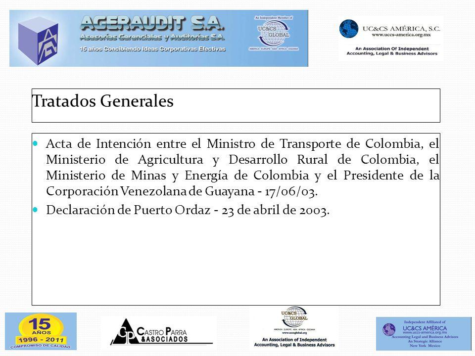Tratados Generales Acta de Intención entre el Ministro de Transporte de Colombia, el Ministerio de Agricultura y Desarrollo Rural de Colombia, el Mini