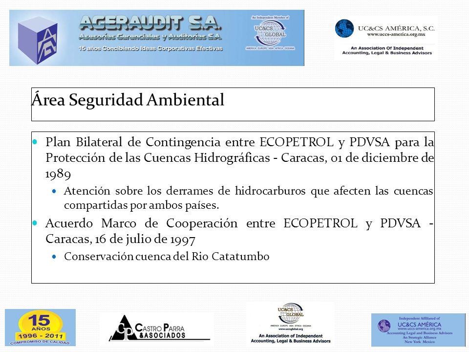 Área Seguridad Ambiental Plan Bilateral de Contingencia entre ECOPETROL y PDVSA para la Protección de las Cuencas Hidrográficas - Caracas, 01 de dicie