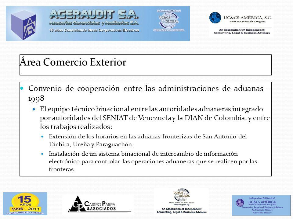Área Comercio Exterior Convenio de cooperación entre las administraciones de aduanas – 1998 El equipo técnico binacional entre las autoridades aduaner