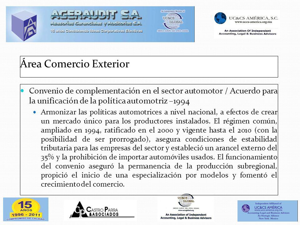 Área Comercio Exterior Convenio de complementación en el sector automotor / Acuerdo para la unificación de la política automotriz –1994 Armonizar las