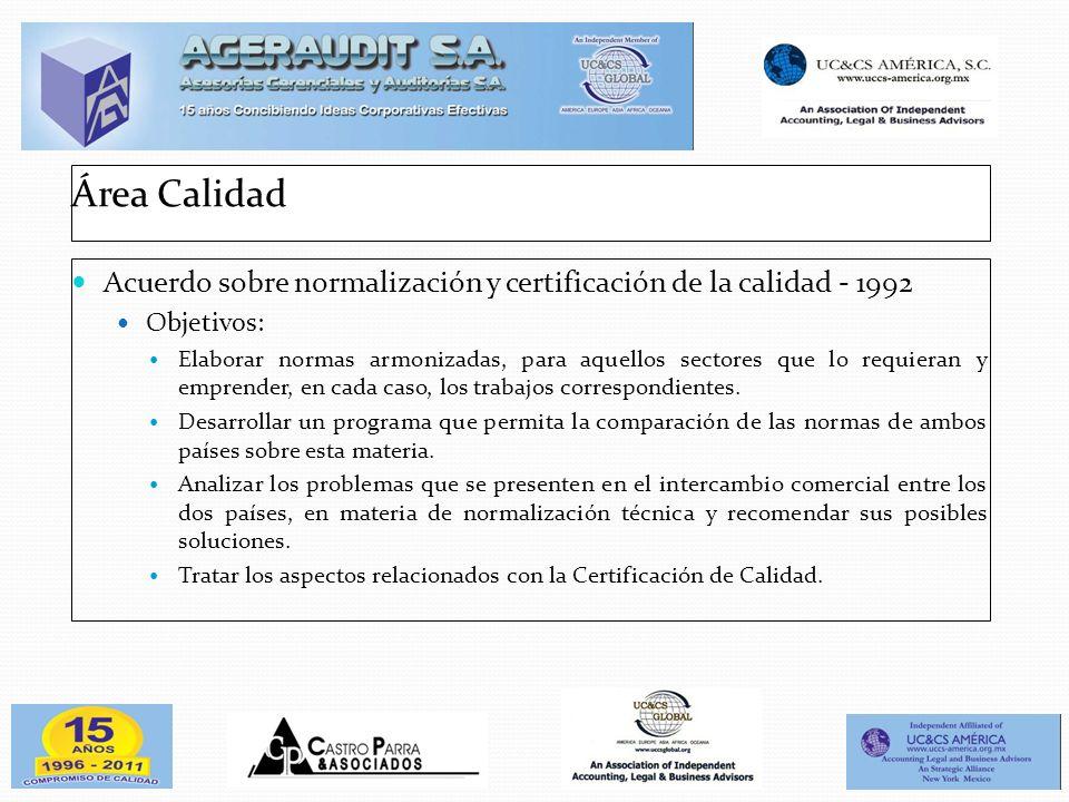 Área Calidad Acuerdo sobre normalización y certificación de la calidad - 1992 Objetivos: Elaborar normas armonizadas, para aquellos sectores que lo re