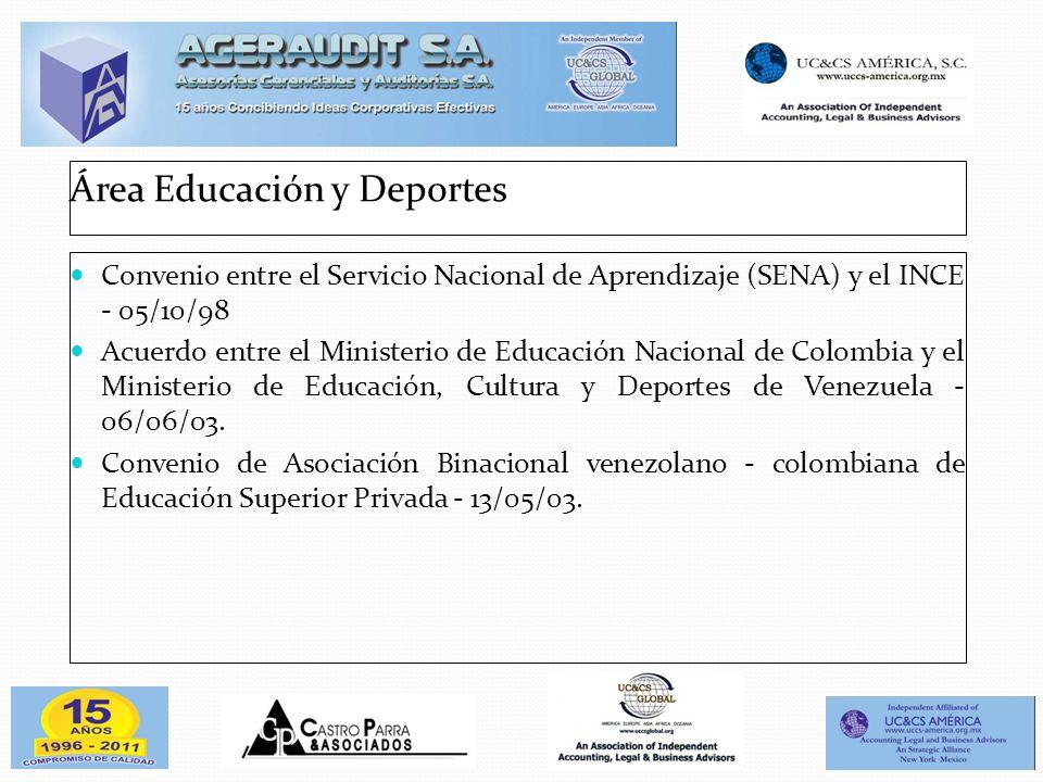 Área Educación y Deportes Convenio entre el Servicio Nacional de Aprendizaje (SENA) y el INCE - 05/10/98 Acuerdo entre el Ministerio de Educación Naci