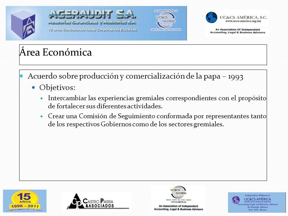 Área Económica Acuerdo sobre producción y comercialización de la papa – 1993 Objetivos: Intercambiar las experiencias gremiales correspondientes con e