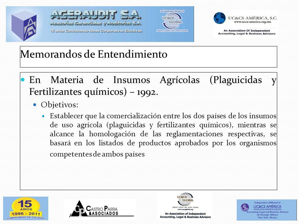 Memorandos de Entendimiento En Materia de Insumos Agrícolas (Plaguicidas y Fertilizantes químicos) – 1992. Objetivos: Establecer que la comercializaci