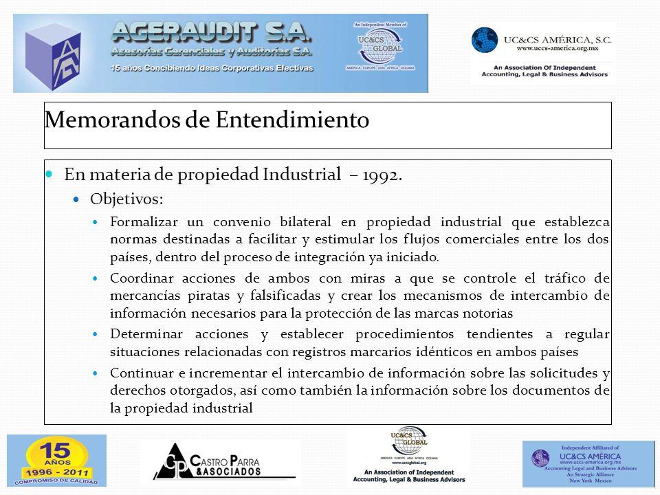 Memorandos de Entendimiento En materia de propiedad Industrial – 1992. Objetivos: Formalizar un convenio bilateral en propiedad industrial que estable